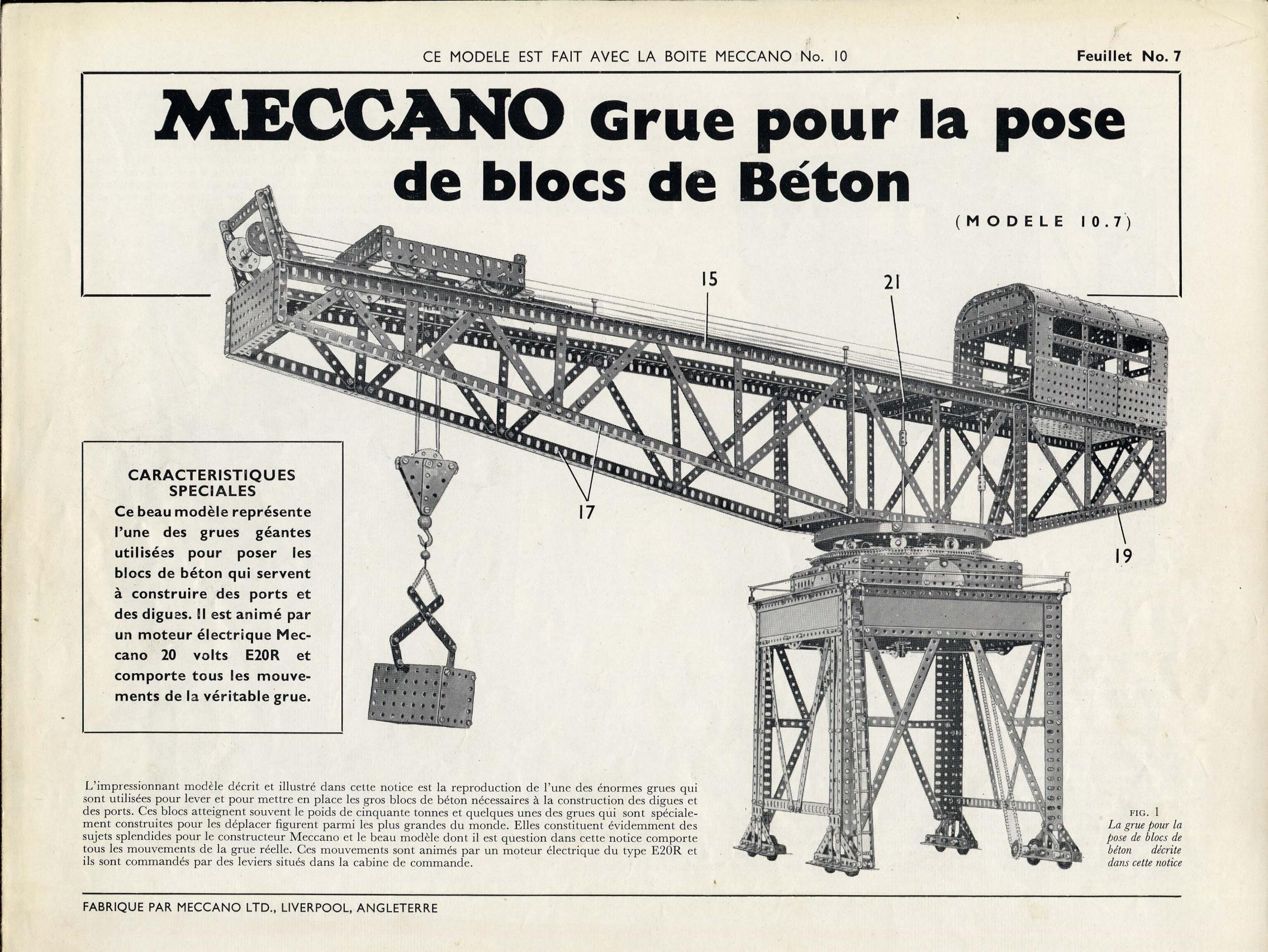 Notices Boîte D'instructions De 101955 Meccano No Modèles Des La CoxdBe