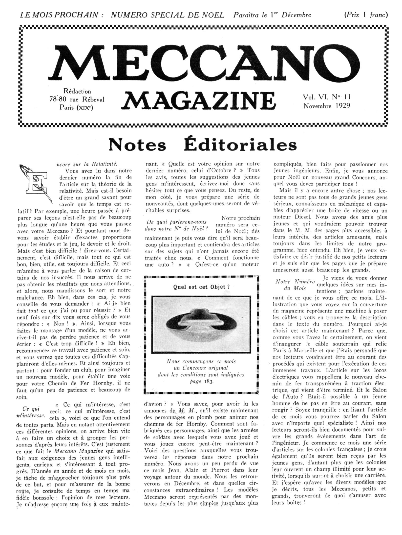 Meccano Magazine Français November 1929 Page 169
